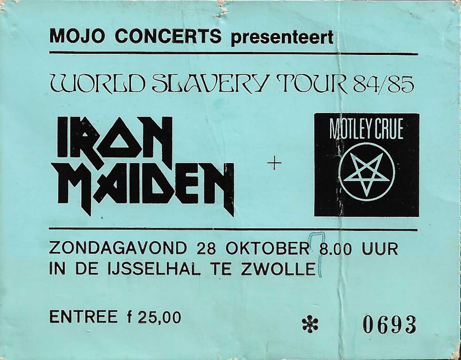 Iron Maiden ticket at IJsselhallen, Zwolle, Netherlands 1984, World Slavery Tour