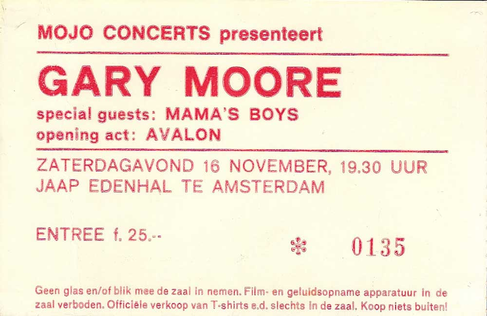 Gary Moore ticket for Jaap Edenhal, Amsterdam, Netherlands 1985, Run For Cover