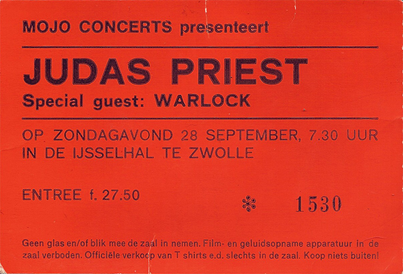 Ticket Judas Priest at IJsselhallen, Zwolle, Netherlands 1986, Fuel For Life