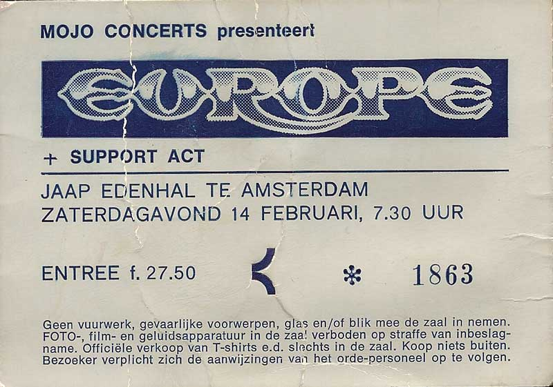 Ticket for Europe at Jaap Edenhal, Amsterdam, Netherlands 1987, The Final Countdown tour