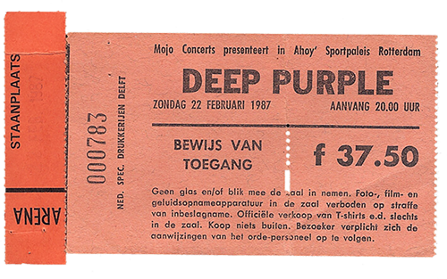 Ticket Deep Purple at Ahoy, Rotterdam, Netherlands 1987, The House Of Blue Light