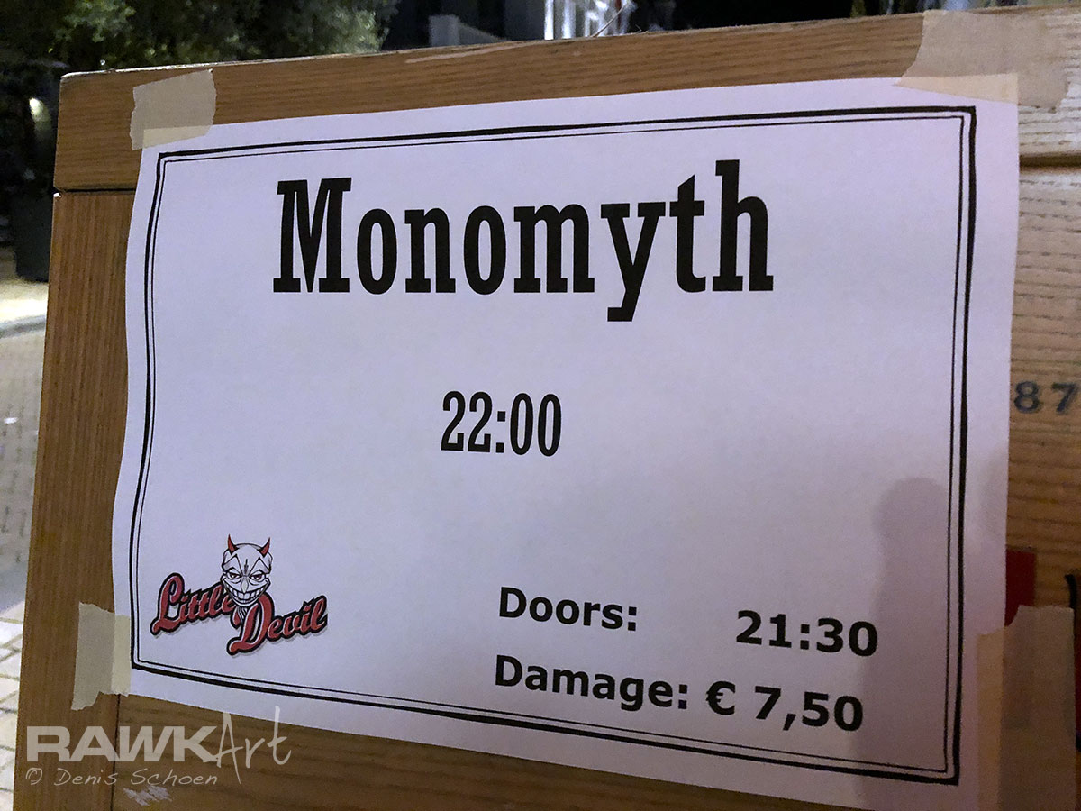 Cool promo poster for Monomyth - Little Devil Cafe, Tilburg, Netherlands 2017