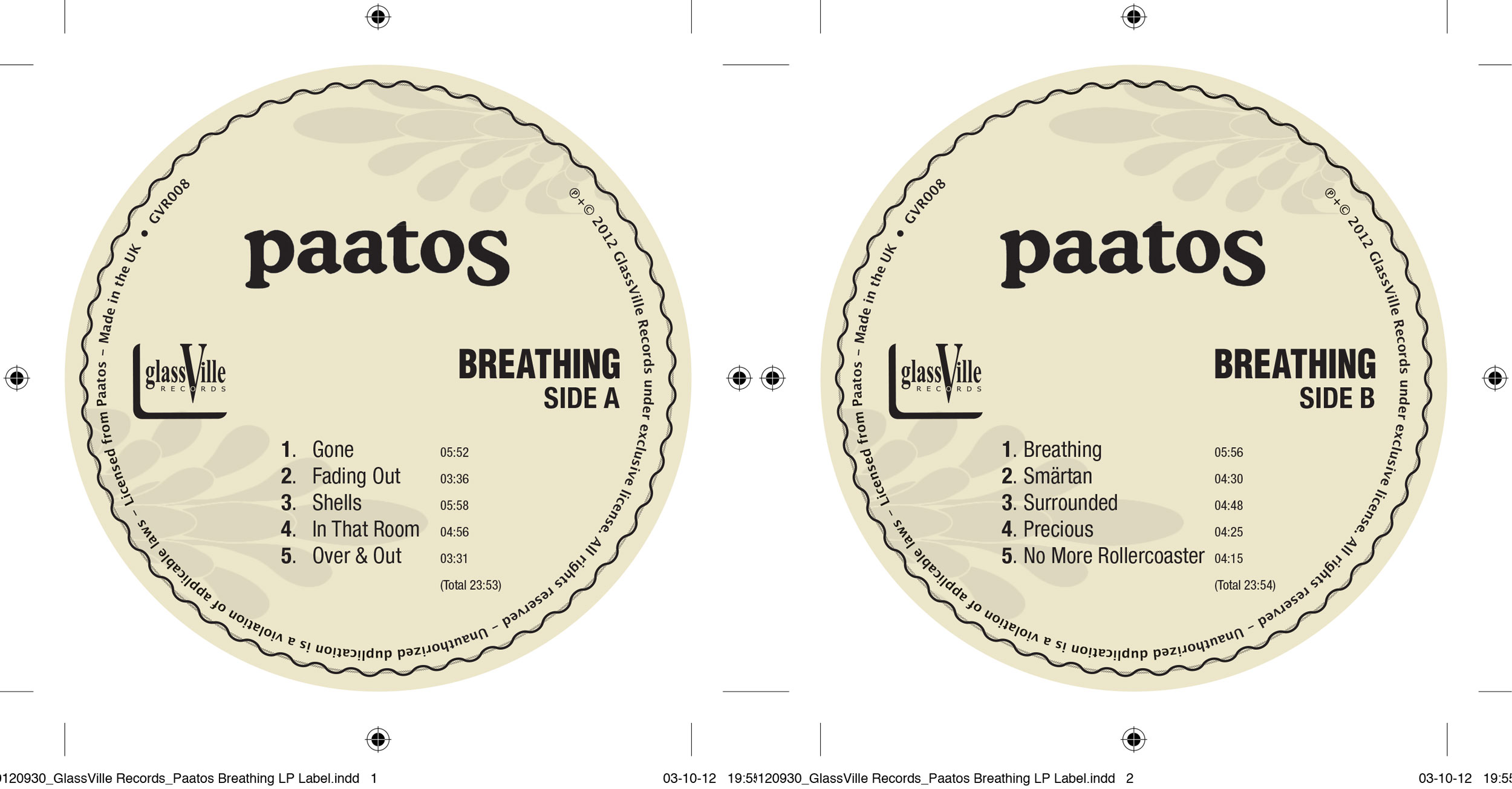 Paatos - 'Breathing' record labels